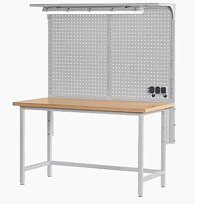 Stół Warsztatowy Z Blatem Laminowanym I Tablicą Perforowaną St1551 Silver Kels