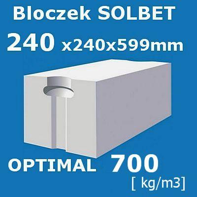 Inteligentny Beton komórkowy Solbet Optimal 700 wymiar 240x240x590 mm - Artbud.pl BR64