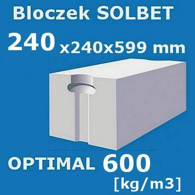 Super Beton komórkowy SOLBET OPTIMAL 600 wymiar 240x240x590 mm - Artbud.pl SM29